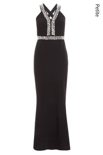 Petite Black Embellished Cross Back Fishtail Maxi Dress